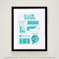 Food Guide - 11x17 typography print - kitchen decor - kitchen print - dietary guide - nutrition chart - nutritional values - health poster