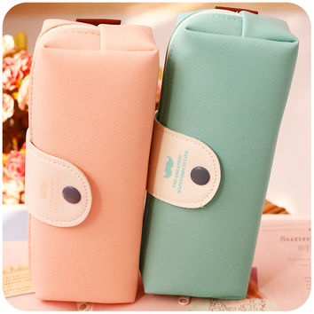 New Cute Kawaii Pure Color Leather Pencil Case School Pencil Bag For Girls Korean Stationery  680