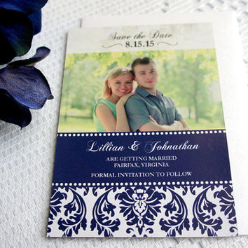 Elegant Blue Save the Date Magnet – Photo Magnet, Wedding, Photo Save the Date, Navy Blue, Damask, Save the Dates - DEPOSIT