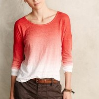 Dip-Dyed Linen Scoop Tee by Velvet by Graham and Spencer Red