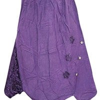 Womem's Skirt, Purple Stonewashed Floral Embroidered Uneven Hemline Skirts M