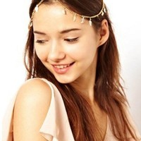Bohemian Head Chain Headpiece Hip Hop Headchain Bride Head Ornament (Gold Tone)