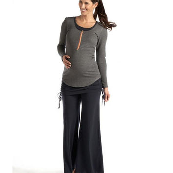 Long Sleeve Zippered Maternity & Nursing Tee | Charcoal