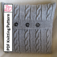 Classic Cable 18 x18 pillow cover - PDF KNITTING PATTERN