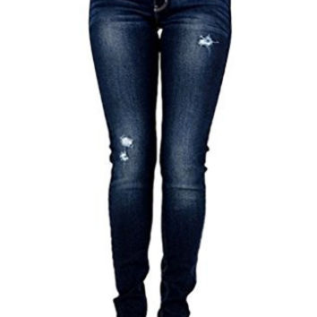 Kan Can Women's Mid Rise Dark Wash Destroyed Skinny Jeans