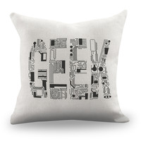 "Geek Circuit Pillow Cover- Off White Color - Zipper Enclosure -18""x18"""
