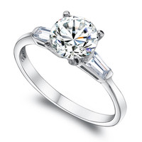 925 Sterling Silver Engagement Wedding CZ Ring