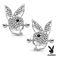 Nipple Bar Playboy Bunny Centered CZ Paved Circle Shield Pair