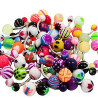 Belly Ring Assorted Lot of 51 Belly Button Rings Steel 14 Gauge Banana Piercing (51 Pieces)