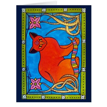 Indian Cat With Lilies Colorful Cat Design Card