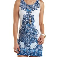 Scarf Print Lace Shift Dress by Charlotte Russe - White/Blue