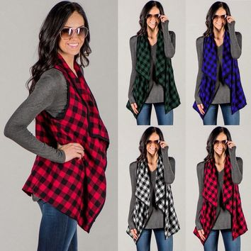 Celmia Women Cardigan Coat 2018 Autumn Waistcoat Vest Coat Casual Loose Grid Plaid Check Sleeveless Jacket Outwear Plus Size 3XL