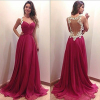 Deep V neck dress long dress red dress = 1955579460