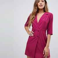 Boohoo button detail tux dress in plum at asos.com