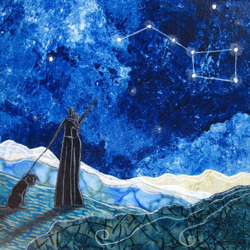 The Big Dipper, Valentines day gift, blue night sky, constellation stars, black lab, lovers,  8.5 x 11 Archival Print