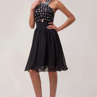 Black Beaded Cross Wrap Cutout Halter Bow Knot Homecoming Dress
