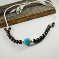 Leather cord necklace, semi precious stone necklace, pearl leather necklace, Turquoise and brown necklace, tuquoise bead necklace
