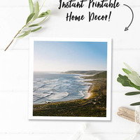 Digital download photography, coastal art, beach printable photo, South Africa travel photography, ocean decor, instant print, square prints