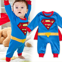 Baby romper 2014 cartoon superman cotton-padded baby body suit spring and autumn clothing kid newborn jumpsuit