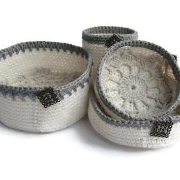 Crochet baskets. Organizer containers. Nesting bowls. White . Storage Basket Organizer for jewellry. Eco-Friendly
