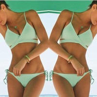 Summer 2015 Women Sexy 2 Piece Bikini Green Swimsuit = 5979105409