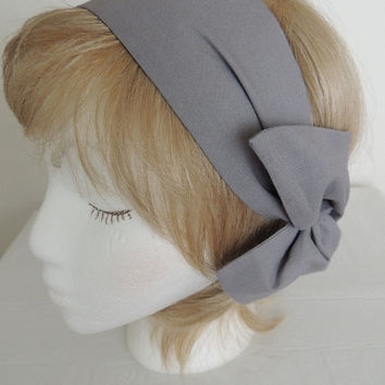 Gray Wire Headband, Grey Twist Scarf, Gray Bandana, Head Band, Twist Head Band,  Hat Band, Head Wrap, Dolly Bow, Hair Tie,  Hair Band, Retro