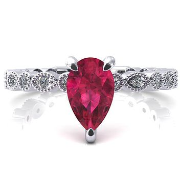 Lizette Pear Ruby 3 Claw Prong 3/4 Eternity Milgrain Diamond Shank Engagement Ring