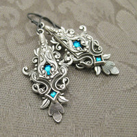 Wounded Pride Blue Zircon Crystal and Silver by RavynEdge on Etsy