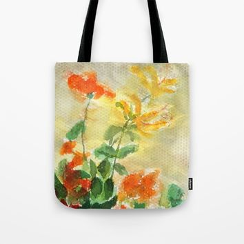 orange and yellow flowers  Tote Bag by Color And Color