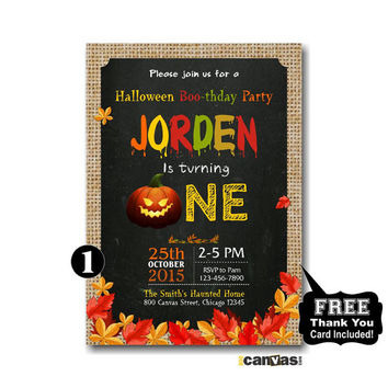 Halloween Birthday Invitation. 1st first birthday halloween party invite. Chalkboard. Halloween Boo-thday Party. Pumpkin Invitations 234