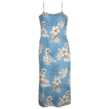 sky hawaiian long spaghetti dress