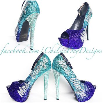 Glitter Wedding High Heels, Purple Ombre Peep Toe Platform Pumps, New Last Name Rhines