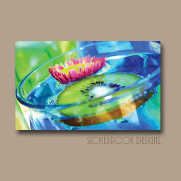 BAR Sign Wall Art CANVAS Painting Vivid Artwork Large Image Wrap Flower Adult Drink Kitchen Decor Aqua Blue Lime Green Free Shipping
