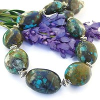 Genuine Turquoise Chunky Necklace Handmade Southwest Pewter Gemstone