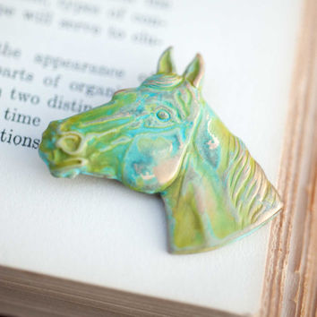 Kentucky Derby Verdigris Horse Brooch Vintage Country Equestrian Indie Jewelry Natural History