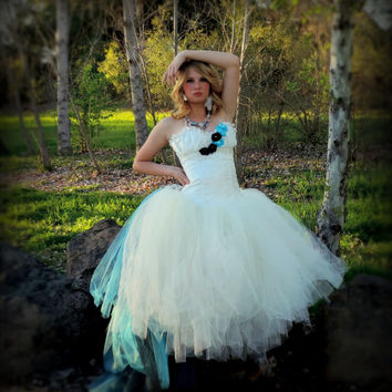 Adult tutu dress, corset tutu dress, white ivory turquoise black, goth bridal dress, goth wedding, wedding dress,