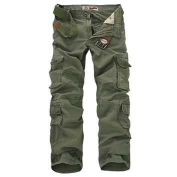 Military Cargo Pants Men Loose Baggy Tactical Trousers No Straps