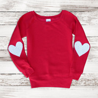 Valentines Day Shirt Red Sequin Heart Elbow Patch Sweatshirt Jumper  with Sequin Heart Gift Ideas for Her Women Girlfriend Teen Wide Neck