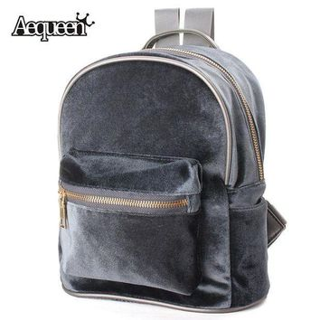 PEAPYV3 AEQUEEN Fashion Women Backpacks School Bags Cute Velvet Casual Retro Backpack Flannel Mochila Zipper Small Sack Bags 4 Colors