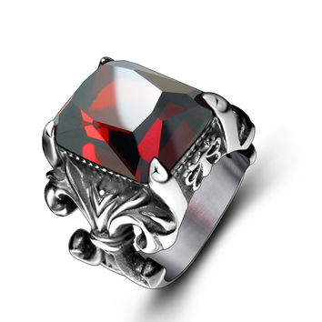 Jewelry Gift Stylish Shiny New Arrival Vintage Gemstone Strong Character Titanium Men Accessory Ring [6526799683]
