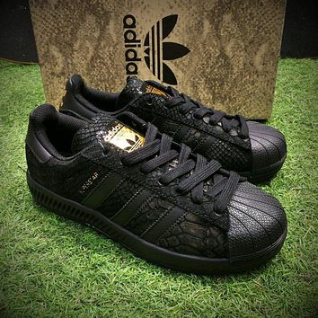 Sale Adidas Originals Superstar 80s Casual Shoes Black Gold Sport Shoes