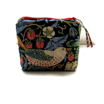William Morris navy blue Strawberry Thief purse, make up bag, small prom or wedding clutch bag, cellphone pouch lined with Liberty Tana lawn