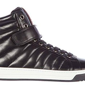 Prada men's shoes high top leather trainers sneakers nappa sport black