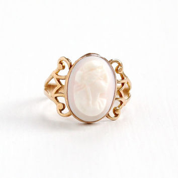 Antique 10K Rose Gold Cameo Ring- Art Nouveau Edwardian Size 4 Hallmarked OB Ostby & Barton Carved Pink Shell Art Deco Fine Jewelry