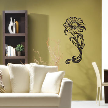 Vinyl Wall Decal Sticker Wood Burn Daisy #1186