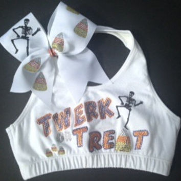 Twerk or Treat Sports Bra and bow combo