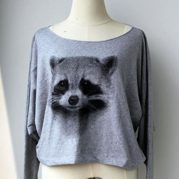 Raccoon Sweatshirt , Raccoon Sweater , Raccoon Long Sleeve Cute Pullover Sweater Raccoons  Animal Print Bat Style Half Body In Grey.