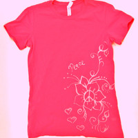 Womans Pink t-shirt with flower and hearts, bLeaCh dRAWn design, hand drawn, PEACE Sign, woman's large