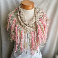 Spring knit scarf organic cotton triangle Scarf with heavy fringe pink and green cowl neck