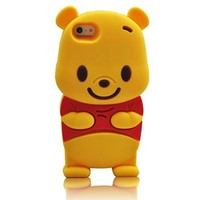 iPhone 6 6S Case, Anya 3D Cute Bow Superhero Series Style Cartoon Soft Rubber Silicone Back Shell Case Cover Skin for Apple Iphone 6 6S 4.7 inch Winnie the Pooh Beer